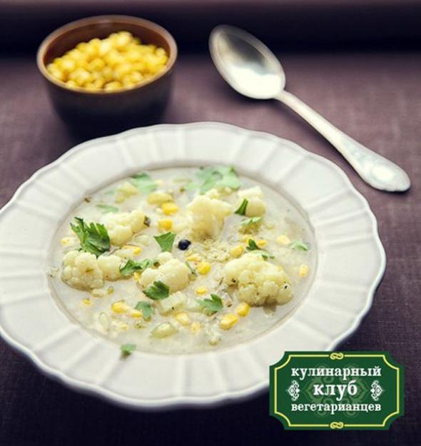 суп с цветной капустой и кукурузой